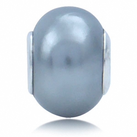 Imitation Light Grey Pearl 925 Sterling Silver European Charm Bead (Fits Pandora Chamilia)