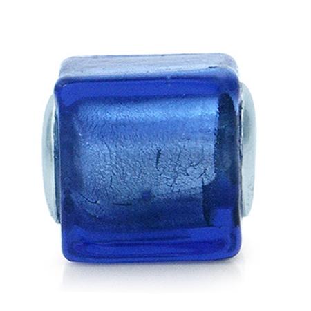 Tanzanite Murano Lampwork Glass 925 Sterling Silver European Charm Bead (Fits Pandora Chamilia)