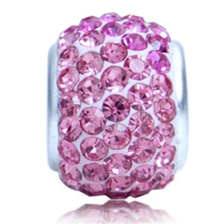AUTH Nagara Rose Pink Clay Crystal Sterling Silver Charms Bead Fits Pandora Chamilia