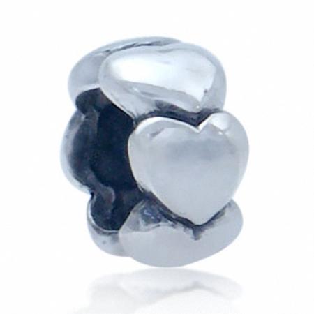 925 Sterling Silver HEART Spacer European Charm Bead (Fits Pandora Chamilia)