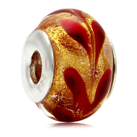 Red & Gold Italian Murano Glass 925 Sterling Silver European Charm Bead (Fits Pandora Chamilia)