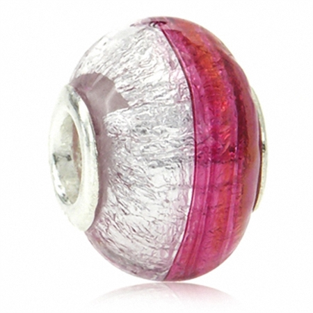 AUTH Rubino Pink Italian Murano Glass w/ 925 Foil Silver European Bead (Fits Pandora Chamilia)