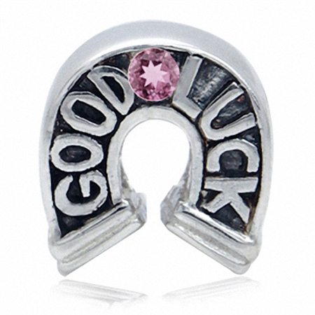 Natural Pink Tourmaline 925 Sterling Silver Horseshoe Good Luck European Charm Bead