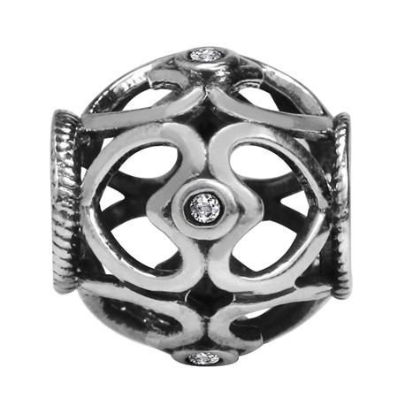 Genuine White Topaz 925 Sterling Silver FILIGREE HEART European Charm Bead (Fits Pandora Chamilia)