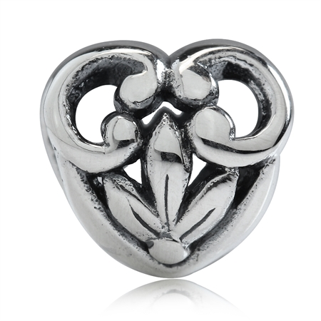 AUTH Nagara 925 Sterling Silver HEART FILIGREE European Charm Bead (Fits Pandora Chamilia)