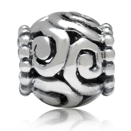 925 Sterling Silver Filigree Spiral European Charm Bead (Fits Pandora Chamilia)