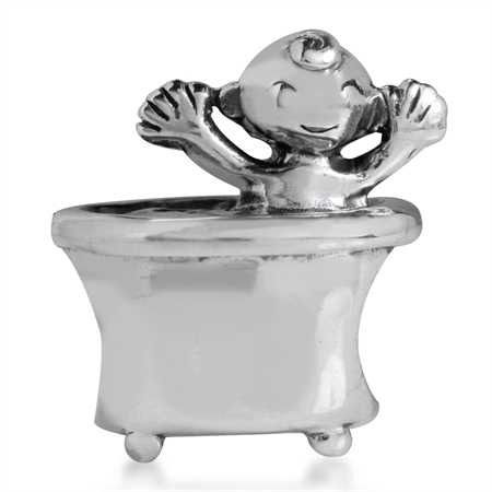 925 Sterling Silver BABY & BATHTUB European Charm Bead (Fits Pandora Chamilia)