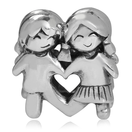 925 Sterling Silver BOY & GIRL European Charm Bead (Fits Pandora Chamilia)