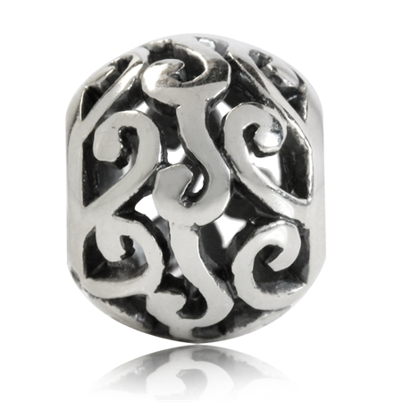 925 Sterling Silver Victorian Style Filigree European Charm Bead (Fits Pandora Chamilia)