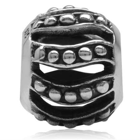 4423fdcc6 925 Sterling Silver Bali/Balinese Style European Charm Bead (Fits Pandora  Chamilia)