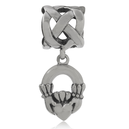 AUTH Nagara 925 Sterling Silver Celtic Knot & Cladagh Dangle European Charm Bead