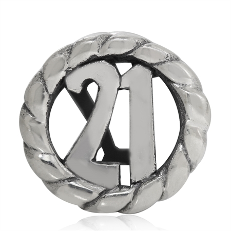 AUTH Nagara 925 Sterling Silver 21th Birthday Infinity European Charm Bead (Fits Pandora Chamilia)