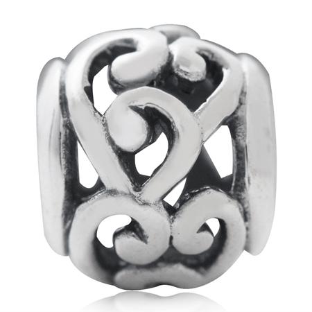 AUTH Nagara 925 Sterling Silver Victorian Swirl Filigree European Charm Bead (Fits Pandora Chamilia)
