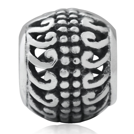 925 Sterling Silver Victorian Filigree European Charm Bead (Fits Pandora Chamilia)