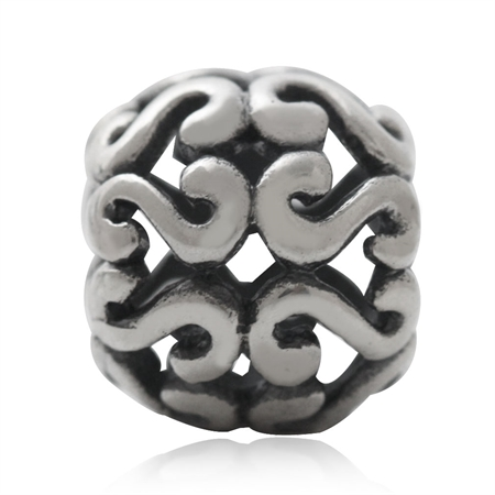 925 Sterling Silver Victorian Filigree European Charm Bead (Fits Pandora Chamilia)