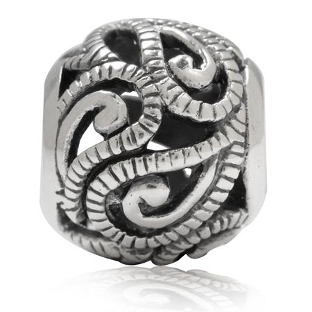 925 Sterling Silver Paisley Swirl Filigree European Charm Bead (Fits Pandora Chamilia)