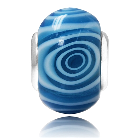 Blue & White Murano Glass 925 Sterling Silver European Charm Bead (Fits Pandora Chamilia)