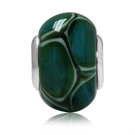 Green & White Murano Glass 925 Sterling Silver European Charm Bead (Fits Pandora Chamilia)