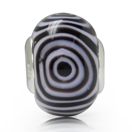 Amethyst Purple & White Murano Glass 925 Sterling Silver European Charm Bead (Fits Pandora Chamilia)