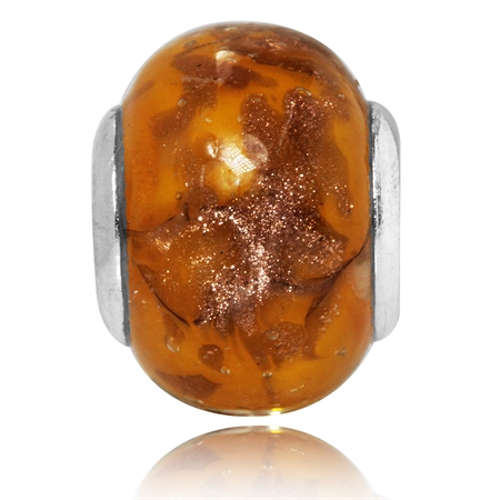 Orange & Yellow Murano Glass 925 Sterling Silver European Charms Bead (Fits Pandora Chamilia)