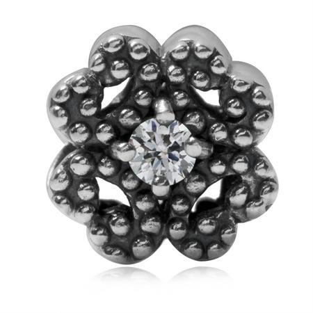 2-Sided White CZ 925 Sterling Silver 4-Leaf Clover European Charm Bead (Fits Pandora Chamilia)