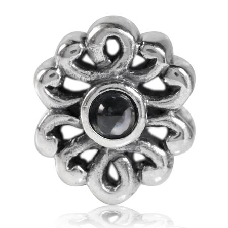 White CZ Cabochon 925 Sterling Silver Filigree European Charm Bead (Fits Pandora Chamilia)