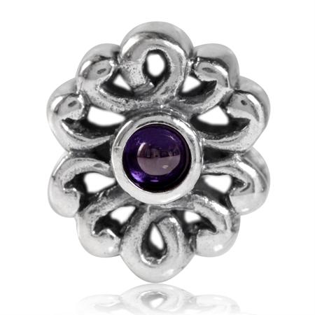Amethyst Purple CZ Cabochon 925 Sterling Silver Filigree European Charm Bead (Fits Pandora Chamilia)
