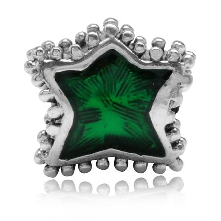 Green Enamel 925 Sterling Silver Star European Charm Bead (Fits Pandora Chamilia)