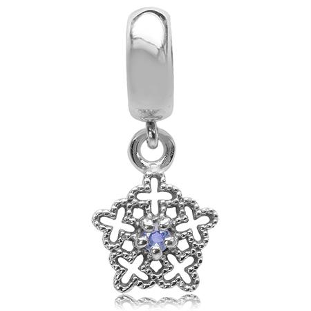 Genuine Tanzanite 925 Sterling Silver Filigree Snowflake Dangle European Charm Bead