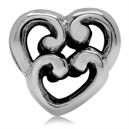 925 Sterling Silver Filigree Heart European Charm Bead (Fits Pandora Chamilia)