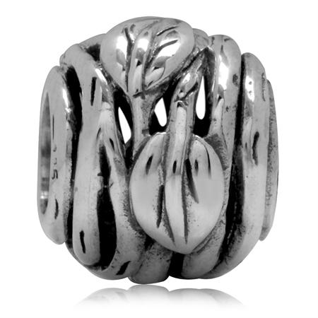 925 Sterling Silver Leaf & Vine Filigree European Charm Bead (Fits Pandora Chamilia)