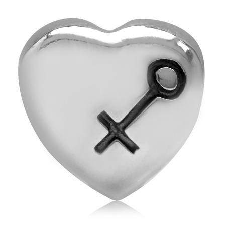 925 Sterling Silver Heart & Gender/Sex Symbol European Charm Bead (Fits Pandora Chamilia)
