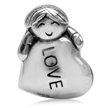925 Sterling Silver a Boy in Love European Charm Bead (Fits Pandora Chamilia)