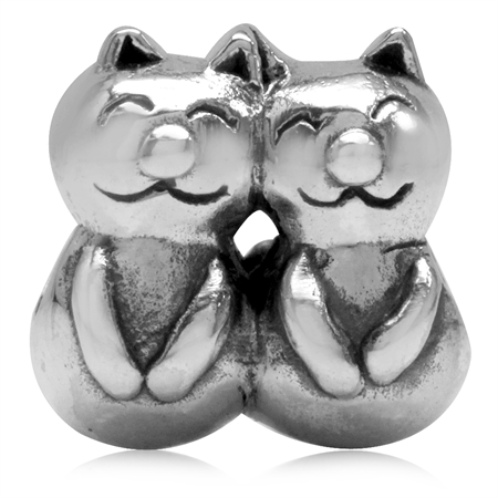 925 Sterling Silver CAT Lovers European Charm Bead (Fits Pandora Chamilia)