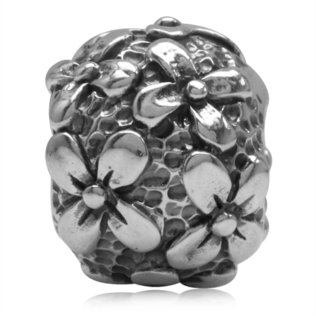 925 Sterling Silver Cluster Flower Ball European Charm Bead (Fits Pandora Chamilia)