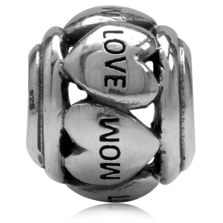 925 Sterling Silver HEART LOVE MOM European Charm Bead (Fits Pandora Chamilia)