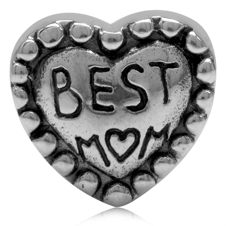 925 Sterling Silver BEST MOM In HEART European Charm Bead (Fits Pandora Chamilia)