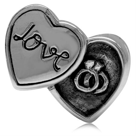 925 Sterling Silver HEART LOVE & RINGS European Charm Bead (Fits Pandora Chamilia)