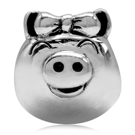 925 Sterling Silver Lady/Girl Pig/Piggy European Charm Bead (Fits Pandora Chamilia)