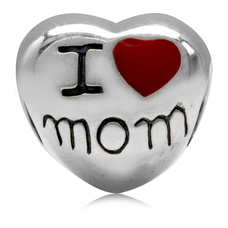 Red Enamel 925 Sterling Silver I LOVE MOM Heart European Charm Bead (Fits Pandora Chamilia)