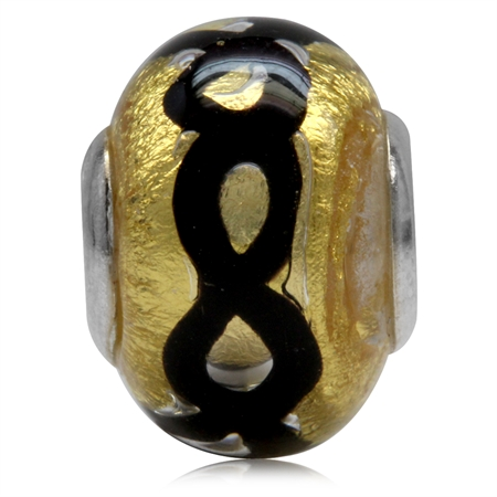 Gold & Black Venetian Italian Made Murano Glass/Lampwork 925 Sterling Silver Caps