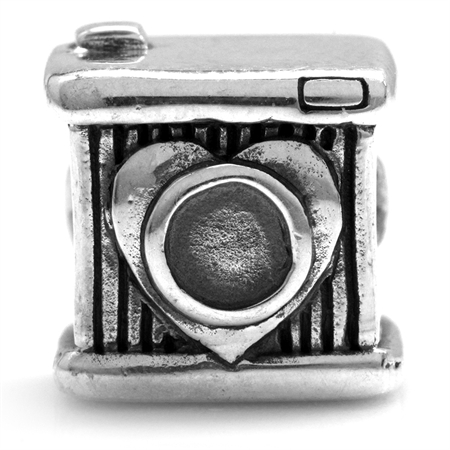 925 Sterling Silver Smile Camera European Charm Bead (Fits Pandora Chamilia)