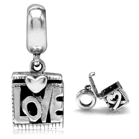 925 Sterling Silver Openable Filigree Love Box European Charm Bead (Fits Pandora Chamilia)