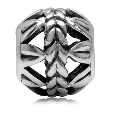 925 Sterling Silver Leaf Filigree Pattern Ball European Charm Bead (Fits Pandora Chamilia)