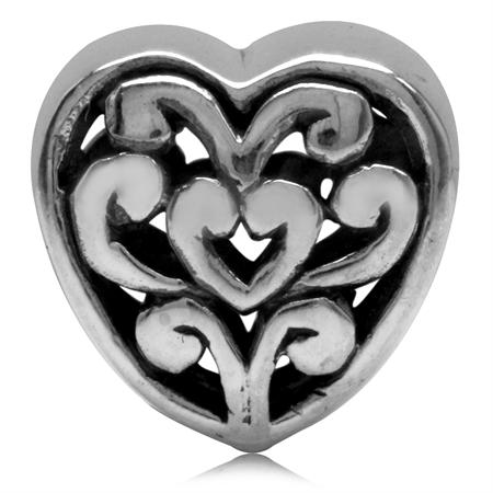 925 Sterling Silver Victorian Style Filigree Heart European Charm Bead (Fits Pandora Chamilia)