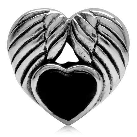 Black Enamel Heart 925 Sterling Silver Angel Wing European Charm Bead (Fits Pandora Chamilia)