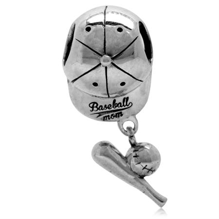 925 Sterling Silver Dangle BASEBALL MOM CAP European Charm Bead (Fits Pandora Chamilia)