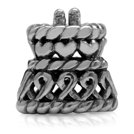 Filigree Wedding Cake (LOVE) 925 Sterling Silver European Charm Bead (Fits Pandora Chamilia)