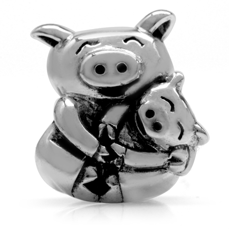 925 Sterling Silver MOTHER & BABY PIG European Charm Bead (Fits Pandora Chamilia)