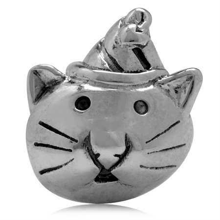 925 Sterling Silver Happy Cat Pet European Charm Bead (Fits Pandora Chamilia)